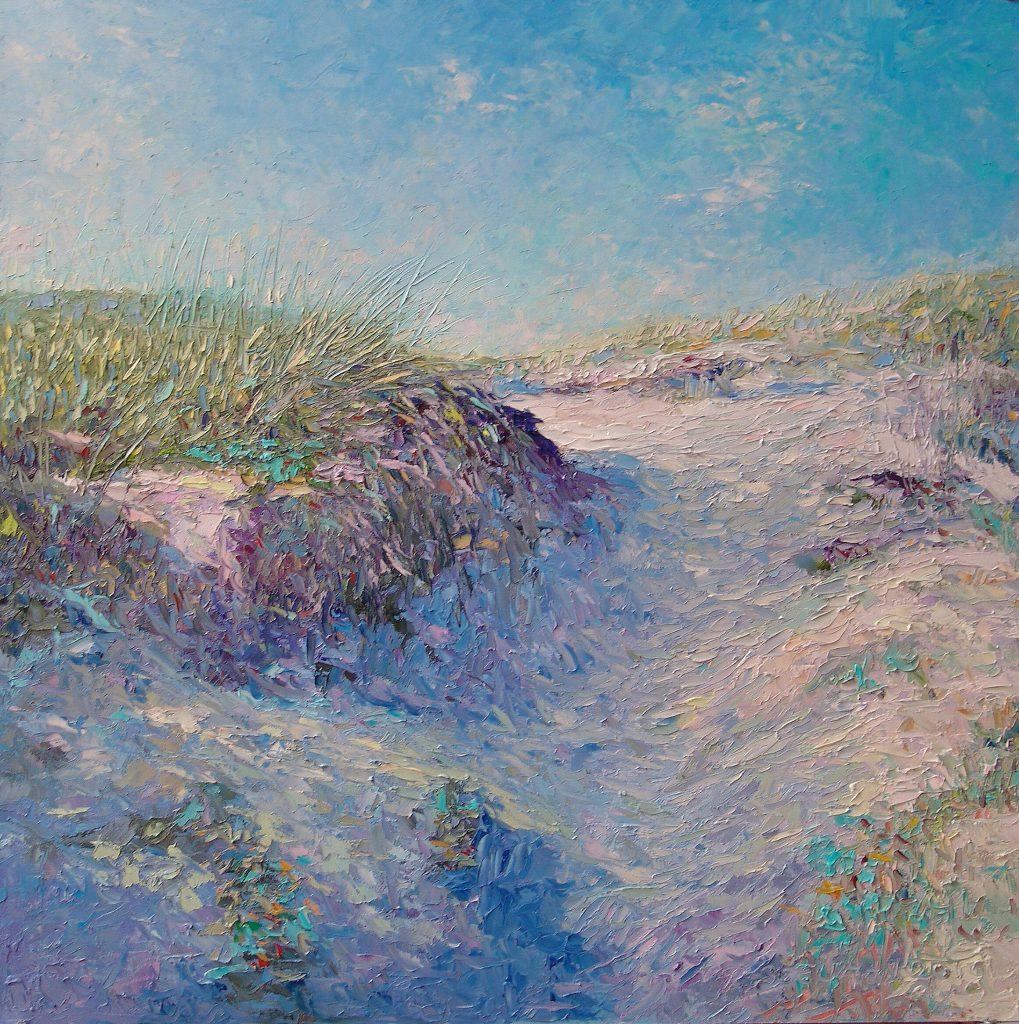 'Duin op', 60 x 60 cm, olieverf op paneel