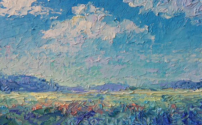 'Landschap visitekaart' 10x6 cm, olieverf op masonite