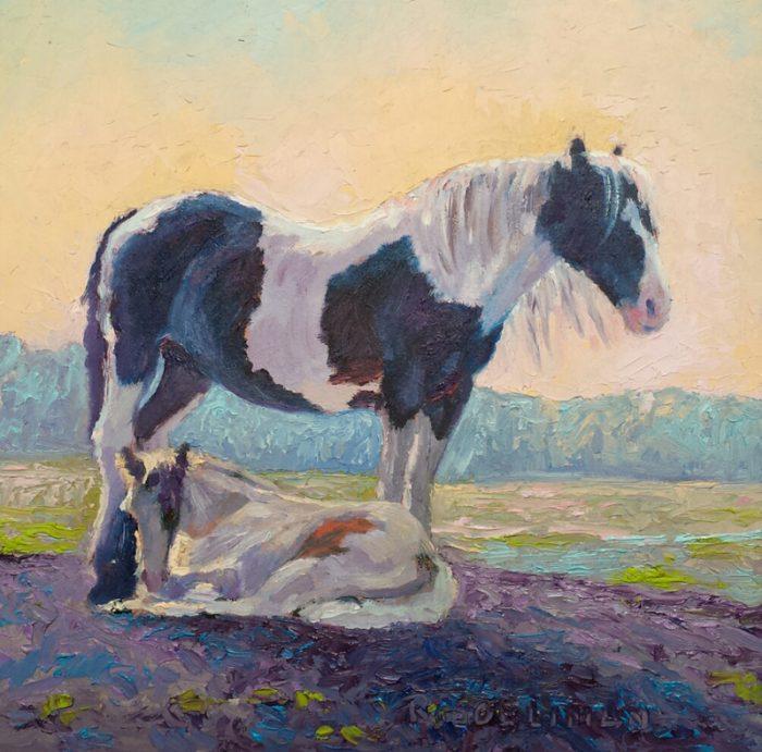 'Paarden', 20x20 cm, olieverf op MDF