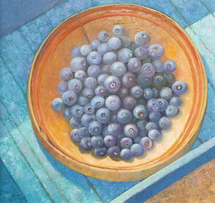 'Stilleven met blauwe bessen', 32 x 34 cm, olieverf op masonite