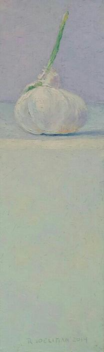 'Stilleven met knoflook', 12x40 cm, olieverf op masonite