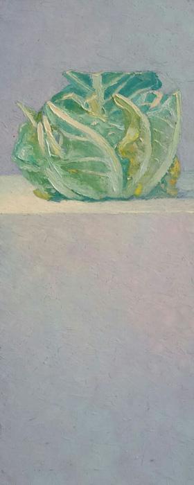Stilleven met lege bloemkool (2)', 20×50 cm, olieverf op masonite