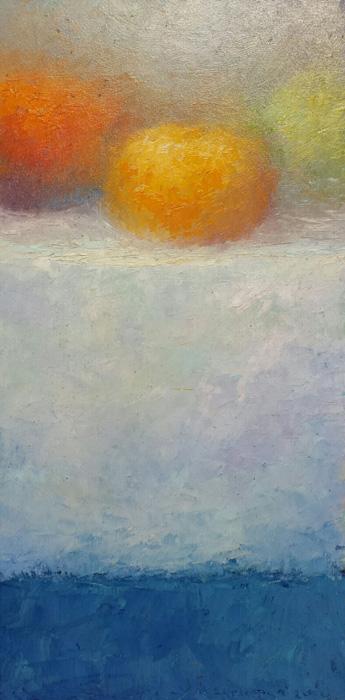 'Stilleven met pompoenen', 20x40 cm, olieverf op masonite