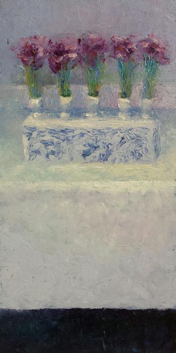 'Stilleven met vaas met tulpen', 20x50 cm, olieverf op masonite