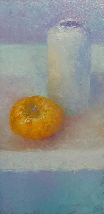 'Stilleven met witte vaas en pompoen', 20x40 cm, olieverf op masonite