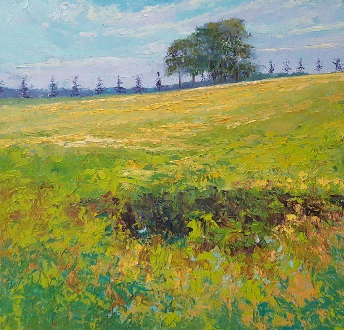 'Uitzicht vanaf de dijk', 80 x 80 cm, olieverf op masonite