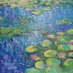 'Waterspiegel(3)', 40 x 40 cm, olieverf op masonite
