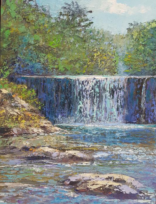 Cascade de Vigan, 30 x 40 cm, olieverf op masonite